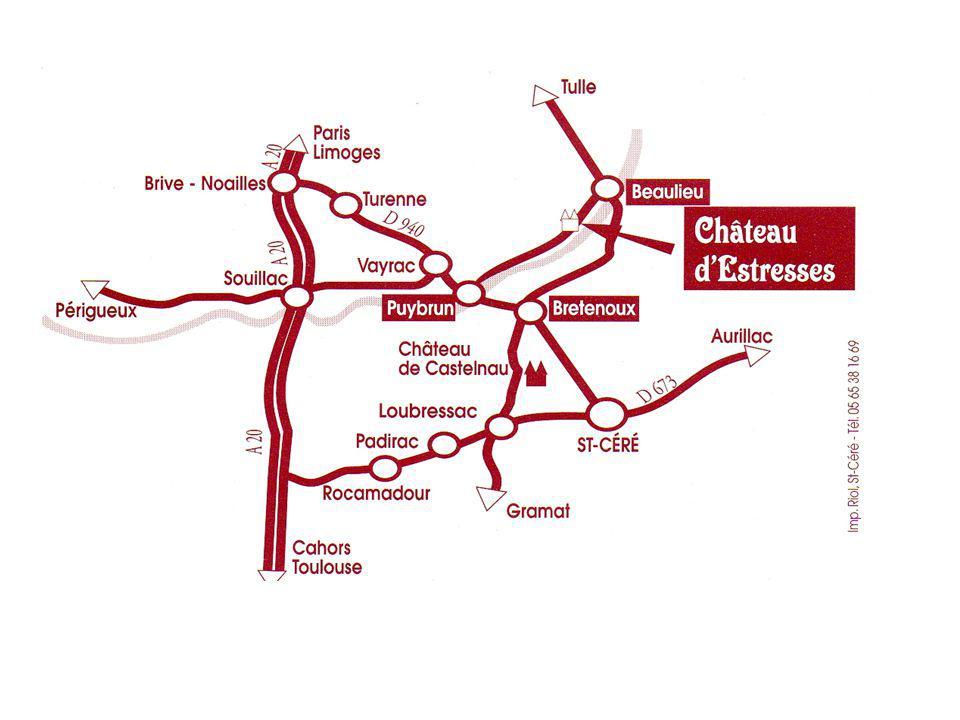 UN SITE NOUVEAU OUVERT AU TOURISME EN CORREZE - LIMITE DU LOT : Le château d ESTRESSES à ASTAILLAC ----------------- Situé à 3 kms de BEAULIEU sur DORDOGNE, centre touristique connu et visité qui a la particularité et l avantage d être au centre d un cercle, où dans un rayon de 20 à 25 kms se trouvent une multitude de sites à visiter : Châteaux de CASTELNAU - MONTAL- TURENNE, Grottes, Villages de caractère : COLLONGES LA ROUGE, CARENNAC, CUREMONTE, sans oublier BEAULIEU avec le tympan du Jugement Dernier, de son Abbatiale bien connu, sa Chapelle des Pénitents au bord de la Dordogne et son circuit en gabarre sur l eau.