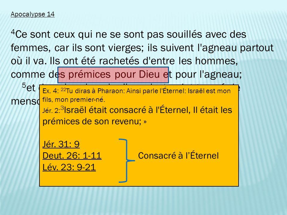 Apocalypse 14 4 Ce sont ceux qui ne se sont pas souillés avec des femmes, car ils sont vierges; ils suivent l agneau partout où il va.