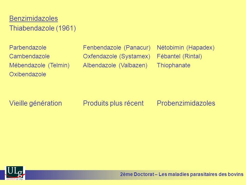 Benzimidazoles Thiabendazole (1961) ParbendazoleFenbendazole (Panacur)Nétobimin (Hapadex) CambendazoleOxfendazole (Systamex)Fébantel (Rintal) Mébendaz