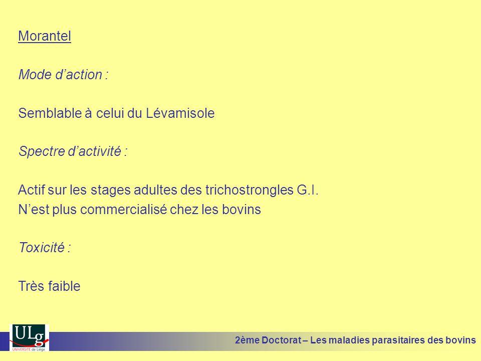 Morantel Mode d'action : Semblable à celui du Lévamisole Spectre d'activité : Actif sur les stages adultes des trichostrongles G.I. N'est plus commerc
