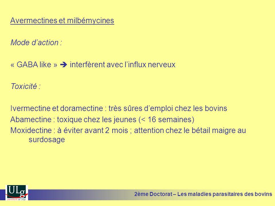 Avermectines et milbémycines Mode d'action : « GABA like »  interfèrent avec l'influx nerveux Toxicité : Ivermectine et doramectine : très sûres d'em