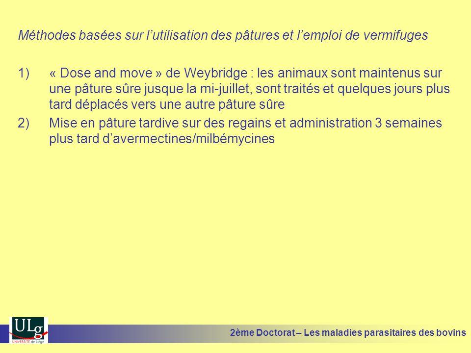 Méthodes basées sur l'utilisation des pâtures et l'emploi de vermifuges 1)« Dose and move » de Weybridge : les animaux sont maintenus sur une pâture s
