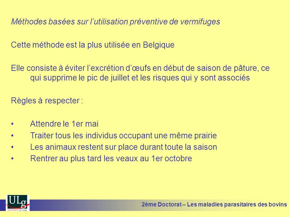 Méthodes basées sur l'utilisation préventive de vermifuges Cette méthode est la plus utilisée en Belgique Elle consiste à éviter l'excrétion d'œufs en