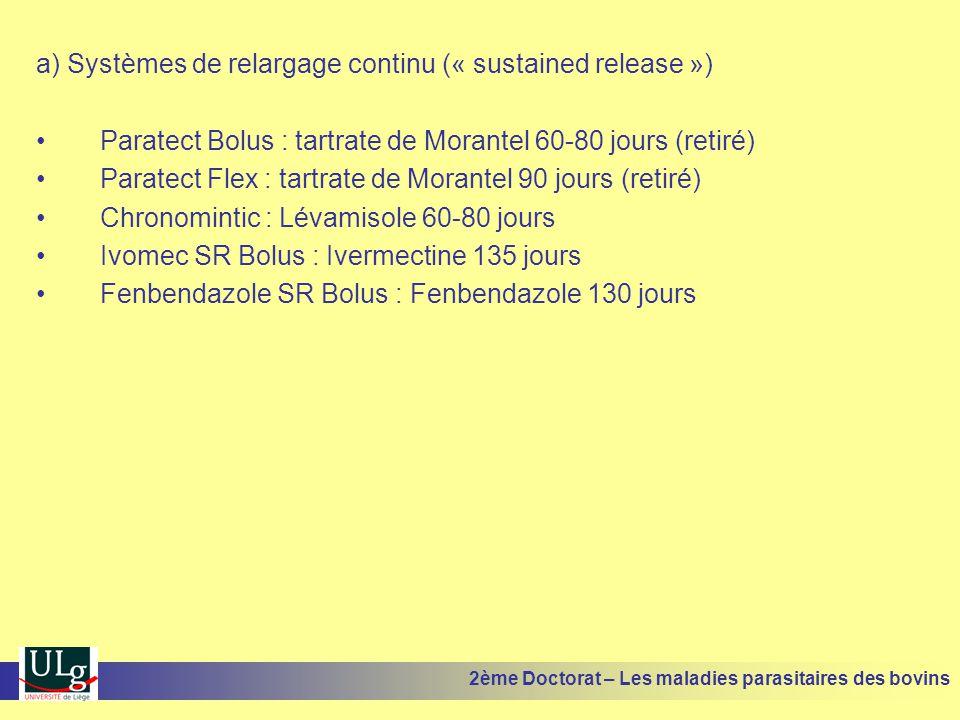 a) Systèmes de relargage continu (« sustained release ») •Paratect Bolus : tartrate de Morantel 60-80 jours (retiré) •Paratect Flex : tartrate de Mora