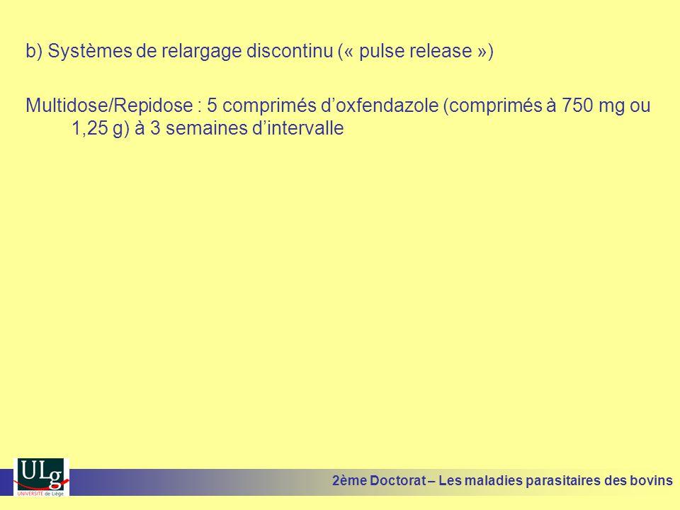 b) Systèmes de relargage discontinu (« pulse release ») Multidose/Repidose : 5 comprimés d'oxfendazole (comprimés à 750 mg ou 1,25 g) à 3 semaines d'i