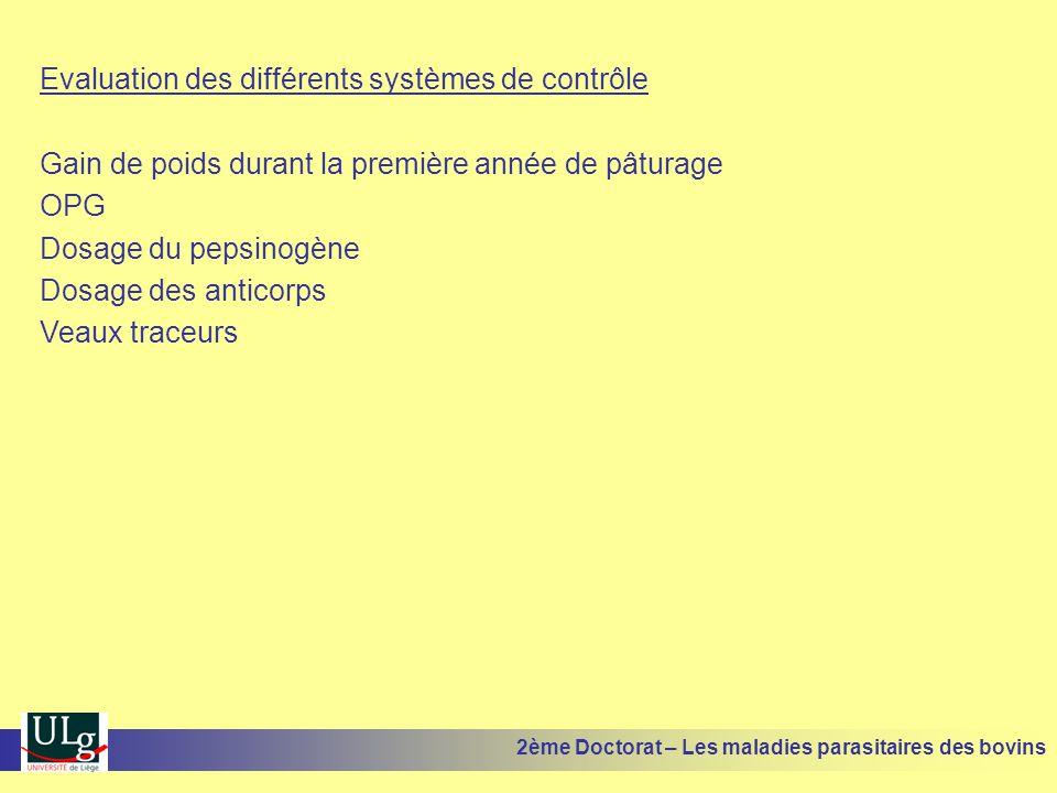 Evaluation des différents systèmes de contrôle Gain de poids durant la première année de pâturage OPG Dosage du pepsinogène Dosage des anticorps Veaux