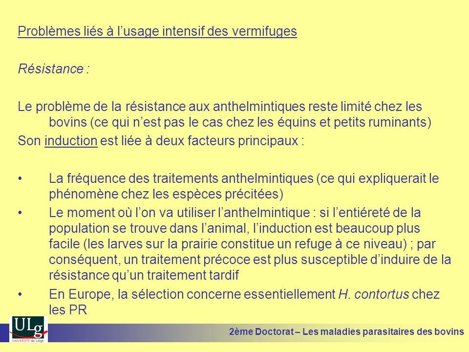 Problèmes liés à l'usage intensif des vermifuges Résistance : Le problème de la résistance aux anthelmintiques reste limité chez les bovins (ce qui n'