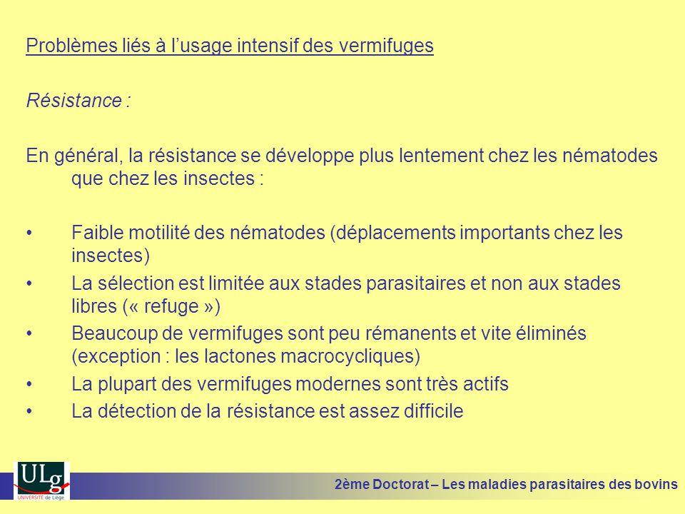 Problèmes liés à l'usage intensif des vermifuges Résistance : En général, la résistance se développe plus lentement chez les nématodes que chez les in