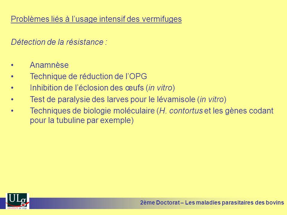 Problèmes liés à l'usage intensif des vermifuges Détection de la résistance : •Anamnèse •Technique de réduction de l'OPG •Inhibition de l'éclosion des