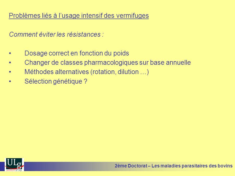 Problèmes liés à l'usage intensif des vermifuges Comment éviter les résistances : •Dosage correct en fonction du poids •Changer de classes pharmacolog
