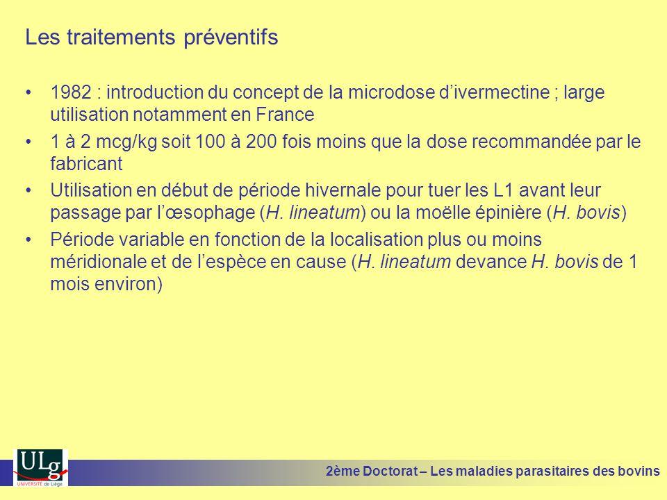 Les traitements préventifs •1982 : introduction du concept de la microdose d'ivermectine ; large utilisation notamment en France •1 à 2 mcg/kg soit 10