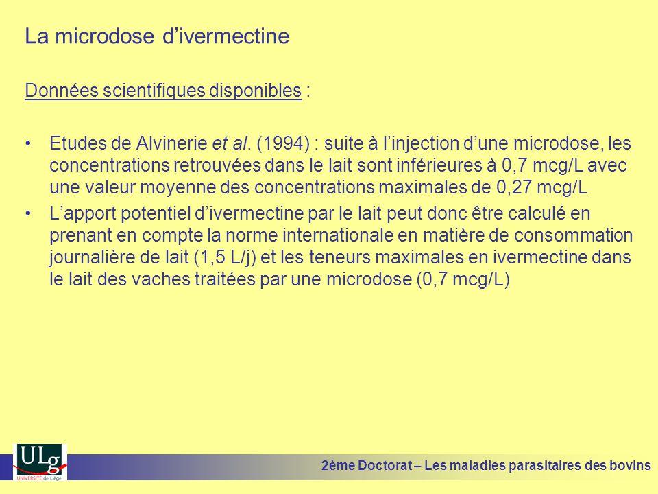 La microdose d'ivermectine Données scientifiques disponibles : •Etudes de Alvinerie et al. (1994) : suite à l'injection d'une microdose, les concentra
