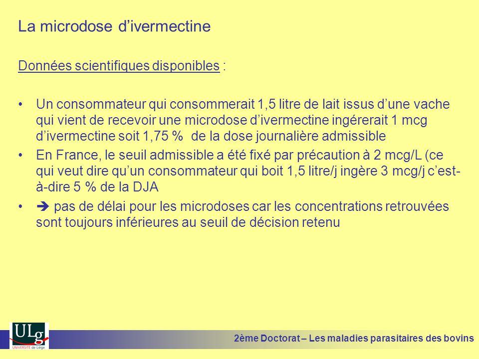 La microdose d'ivermectine Données scientifiques disponibles : •Un consommateur qui consommerait 1,5 litre de lait issus d'une vache qui vient de rece