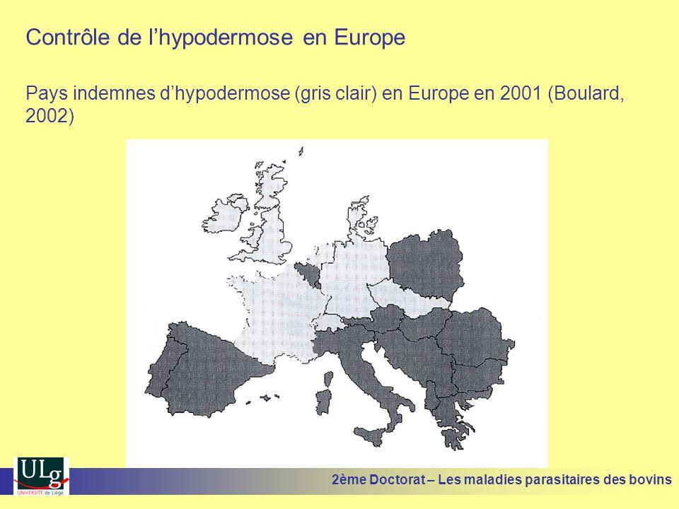 Contrôle de l'hypodermose en Europe Pays indemnes d'hypodermose (gris clair) en Europe en 2001 (Boulard, 2002) 2ème Doctorat – Les maladies parasitair