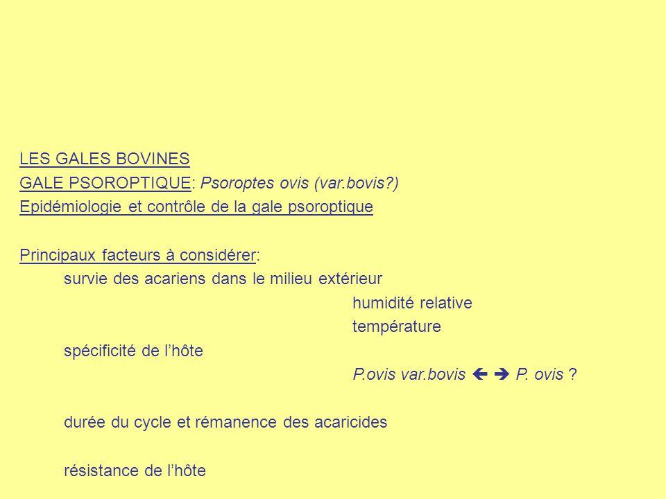LES GALES BOVINES GALE PSOROPTIQUE: Psoroptes ovis (var.bovis?) Epidémiologie et contrôle de la gale psoroptique Principaux facteurs à considérer: sur