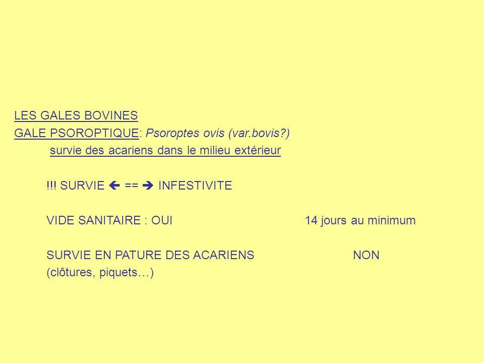 LES GALES BOVINES GALE PSOROPTIQUE: Psoroptes ovis (var.bovis?) survie des acariens dans le milieu extérieur !!! SURVIE  ==  INFESTIVITE VIDE SANITA
