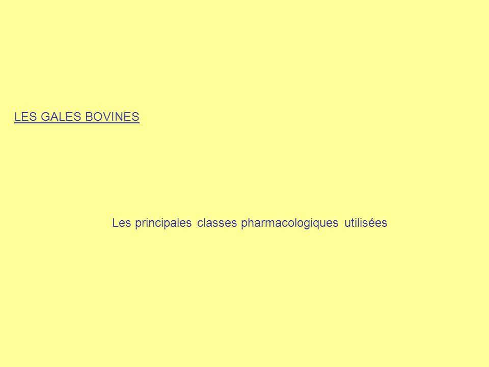 LES GALES BOVINES Les principales classes pharmacologiques utilisées
