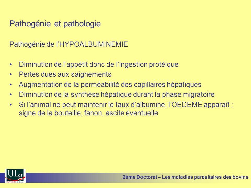 Pathogénie et pathologie Pathogénie de l'HYPOALBUMINEMIE •Diminution de l'appétit donc de l'ingestion protéique •Pertes dues aux saignements •Augmenta