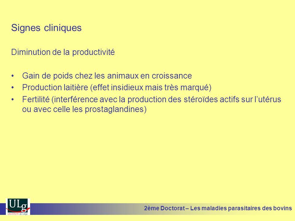 Signes cliniques Diminution de la productivité •Gain de poids chez les animaux en croissance •Production laitière (effet insidieux mais très marqué) •