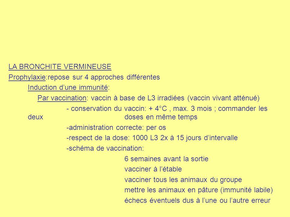 LA BRONCHITE VERMINEUSE Prophylaxie:repose sur 4 approches différentes Induction d'une immunité: Par vaccination: vaccin à base de L3 irradiées (vacci