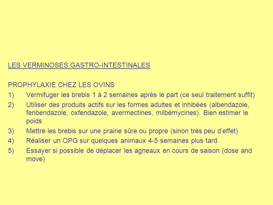 LES VERMINOSES GASTRO-INTESTINALES PROPHYLAXIE CHEZ LES OVINS 1)Vermifuger les brebis 1 à 2 semaines après le part (ce seul traitement suffit) 2)Utili