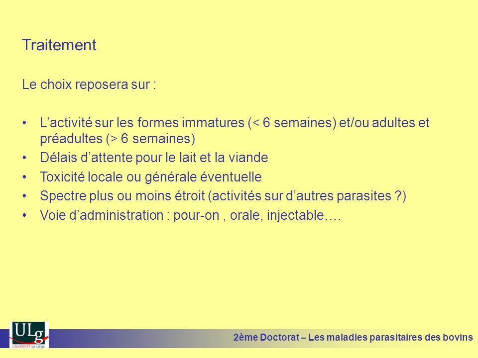 Traitement Le choix reposera sur : •L'activité sur les formes immatures ( 6 semaines) •Délais d'attente pour le lait et la viande •Toxicité locale ou