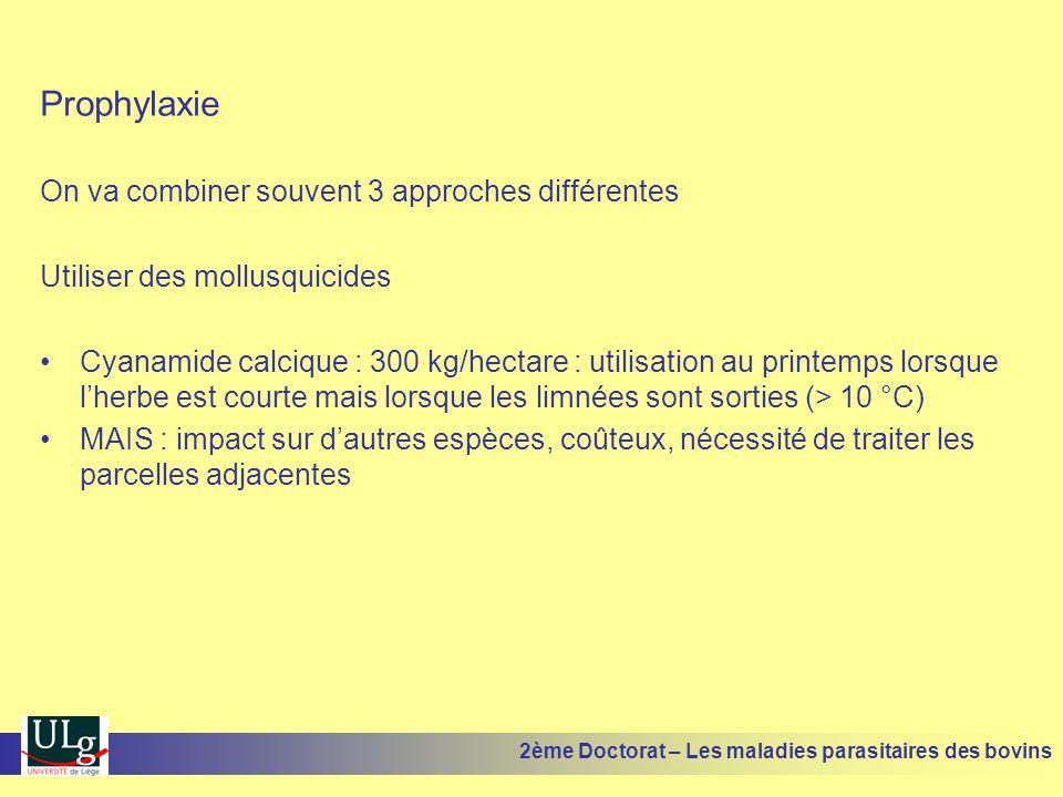 Prophylaxie On va combiner souvent 3 approches différentes Utiliser des mollusquicides •Cyanamide calcique : 300 kg/hectare : utilisation au printemps