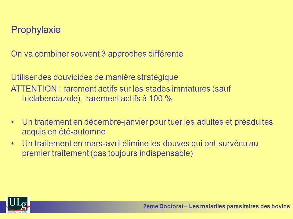 Prophylaxie On va combiner souvent 3 approches différente Utiliser des douvicides de manière stratégique ATTENTION : rarement actifs sur les stades im