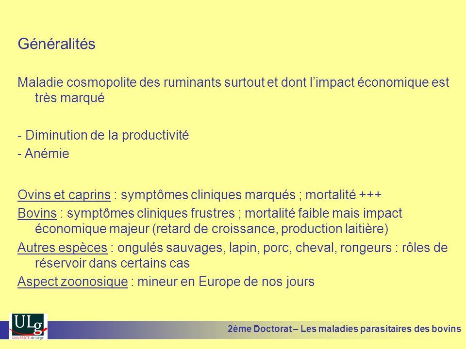 Diagnostic Distomatose chronique (souvent associée à l'ostertagiose) : •Données épidémiologiques : maladie surtout hivernale après un été humide •Données cliniques : anémie, amaigrissement, œdème •Examens de laboratoire : présence des œufs dans les selles (technique assez peu sensible  prélever sur plusieurs animaux, mise en évidences des Ac spécifiques (ELISA, agglutination), dosage des enzymes hépatiques (GGT par exemple) •Examen post mortem : lésions des canaux biliaires, présence éventuelle de douves 2ème Doctorat – Les maladies parasitaires des bovins