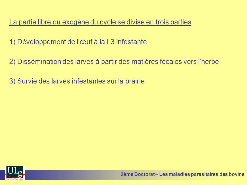 La partie libre ou exogène du cycle se divise en trois parties 1) Développement de l'œuf à la L3 infestante 2) Dissémination des larves à partir des m