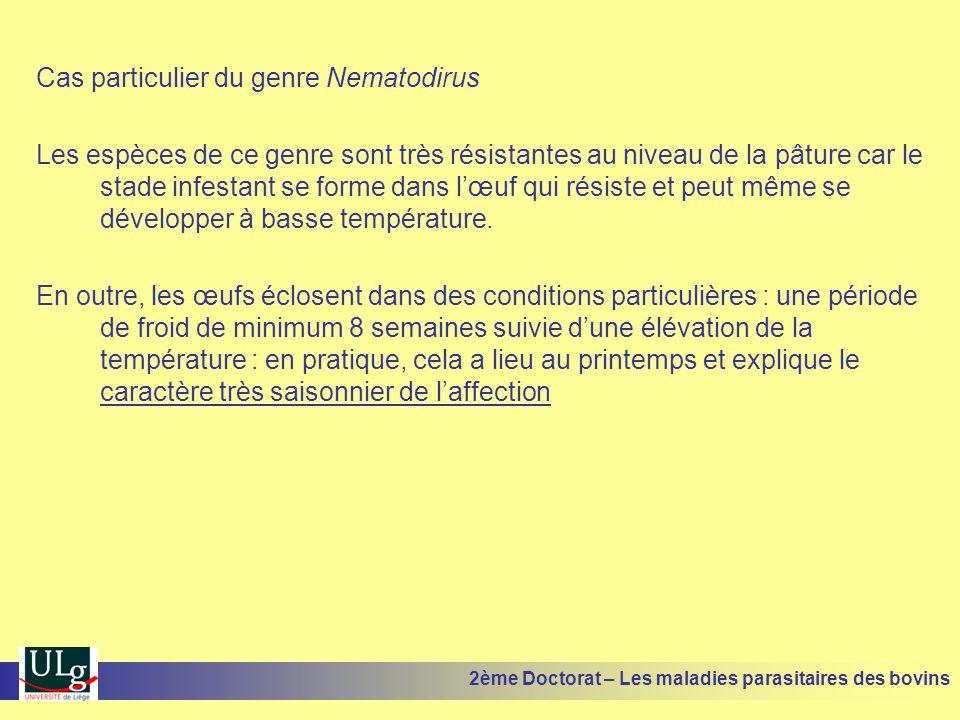Cas particulier du genre Nematodirus Les espèces de ce genre sont très résistantes au niveau de la pâture car le stade infestant se forme dans l'œuf q