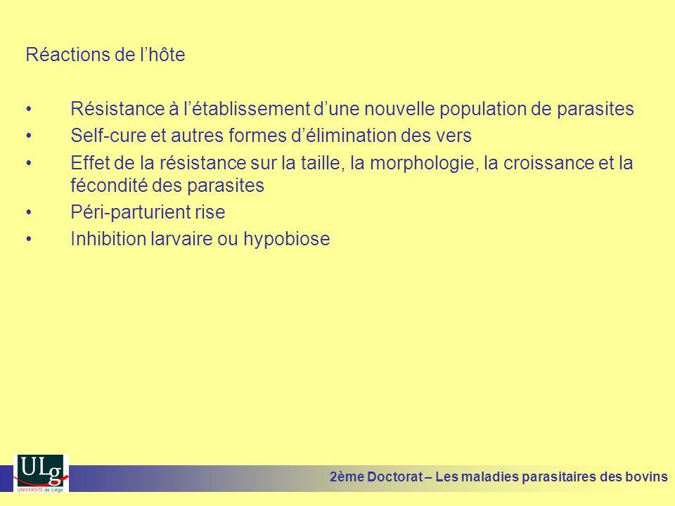 Réactions de l'hôte •Résistance à l'établissement d'une nouvelle population de parasites •Self-cure et autres formes d'élimination des vers •Effet de