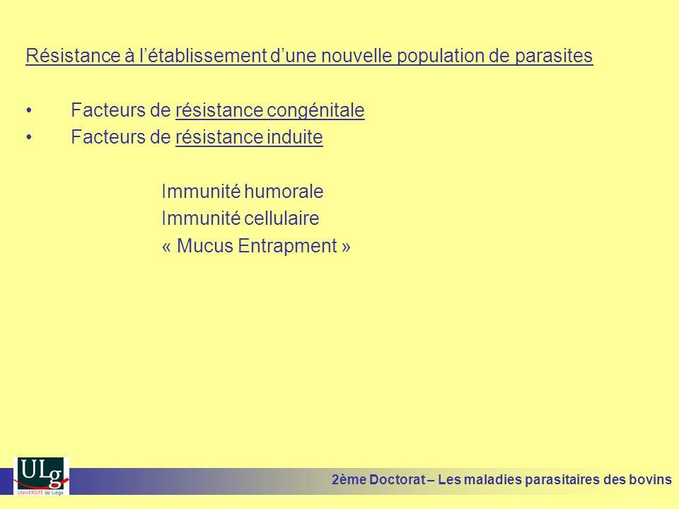 Résistance à l'établissement d'une nouvelle population de parasites •Facteurs de résistance congénitale •Facteurs de résistance induite Immunité humor