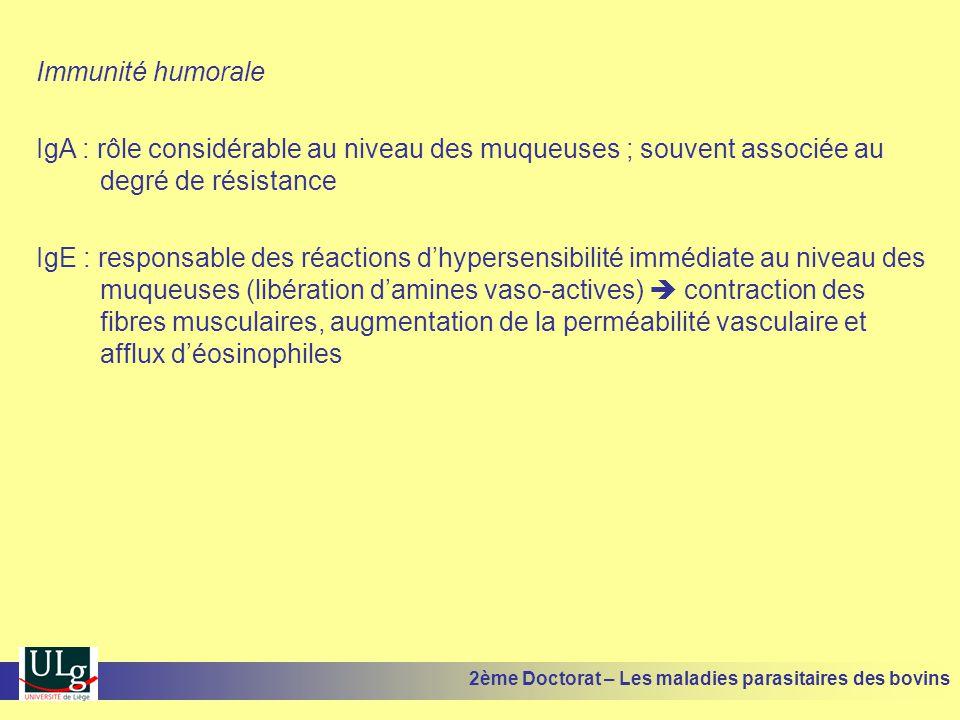 Immunité humorale IgA : rôle considérable au niveau des muqueuses ; souvent associée au degré de résistance IgE : responsable des réactions d'hypersen
