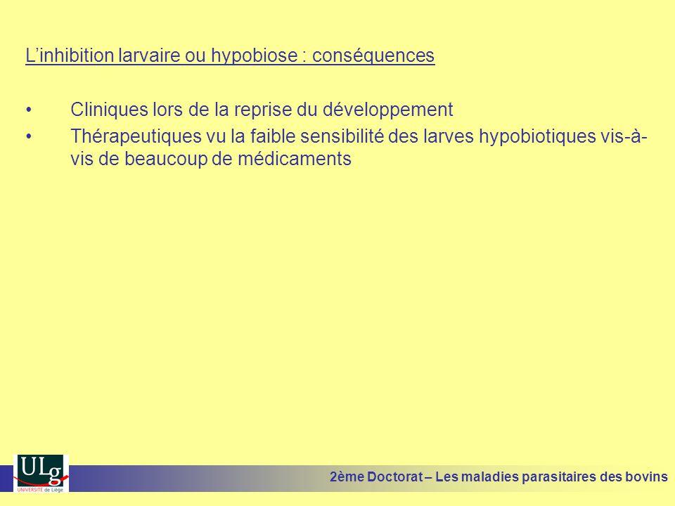 L'inhibition larvaire ou hypobiose : conséquences •Cliniques lors de la reprise du développement •Thérapeutiques vu la faible sensibilité des larves h
