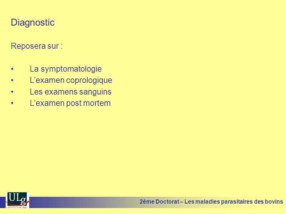 Diagnostic Reposera sur : •La symptomatologie •L'examen coprologique •Les examens sanguins •L'examen post mortem 2ème Doctorat – Les maladies parasita