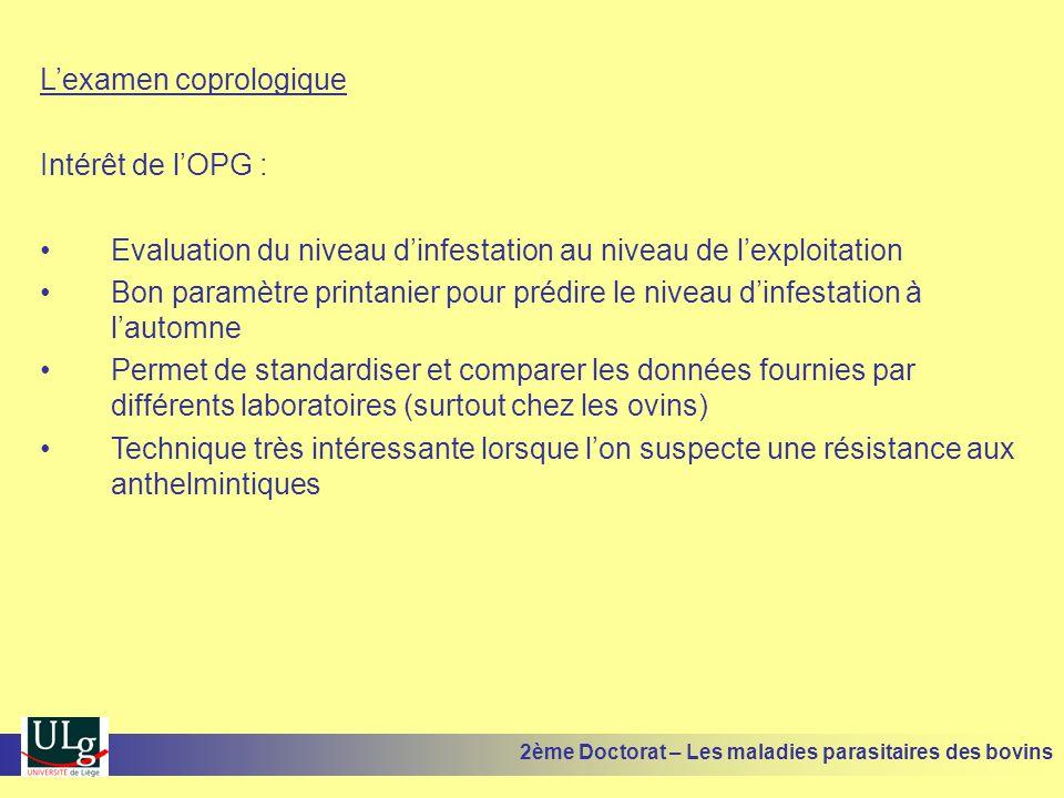 L'examen coprologique Intérêt de l'OPG : •Evaluation du niveau d'infestation au niveau de l'exploitation •Bon paramètre printanier pour prédire le niv