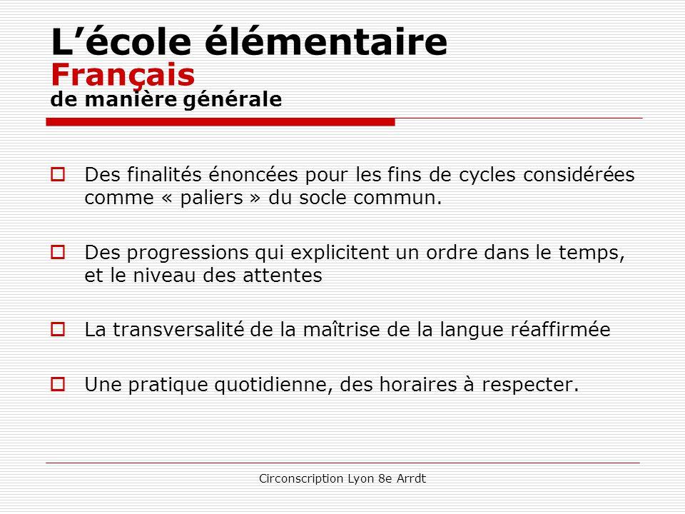 Circonscription Lyon 8e Arrdt L'école élémentaire Horaires CE2 – CM1 – CM2 Champs disciplinairesDurée annuelle Durée hebdomadaire Français288 h8 h Mat