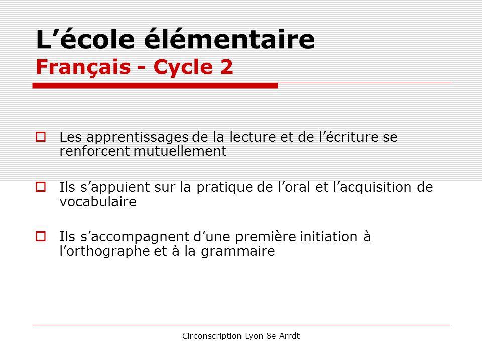 Circonscription Lyon 8e Arrdt L'école élémentaire Français de manière générale  Des finalités énoncées pour les fins de cycles considérées comme « pa