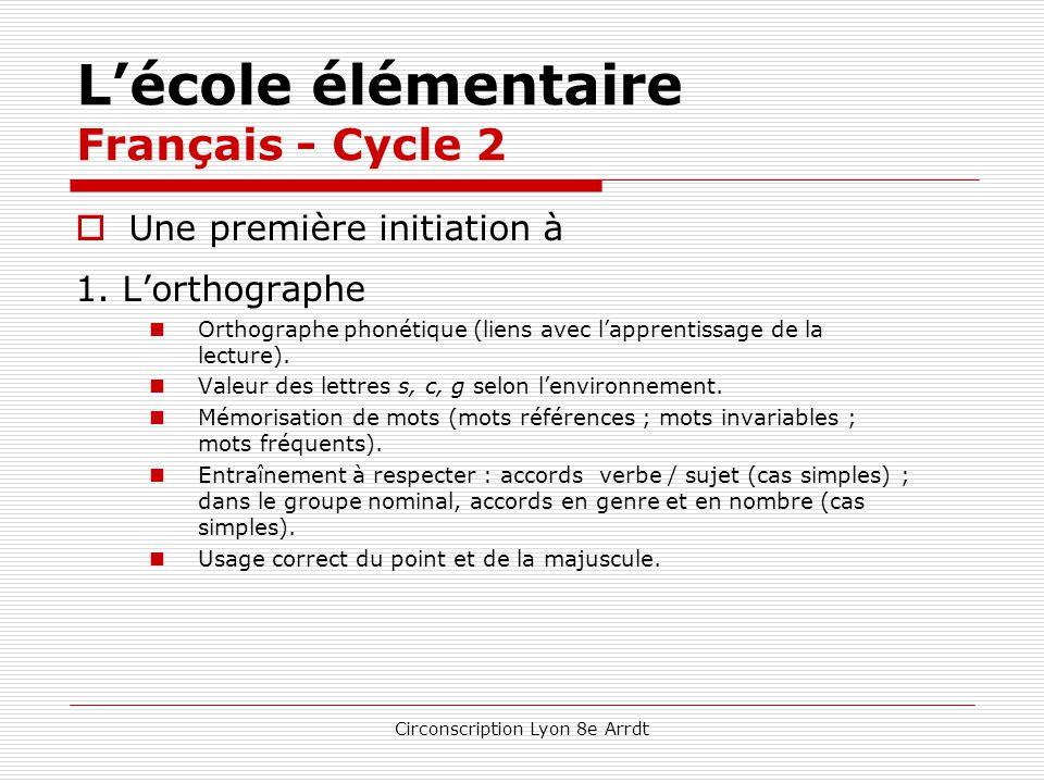 Circonscription Lyon 8e Arrdt L'école élémentaire Français - Cycle 2  Écriture  Maîtrise du geste graphique.  Copie : techniques, soin, vitesse. 