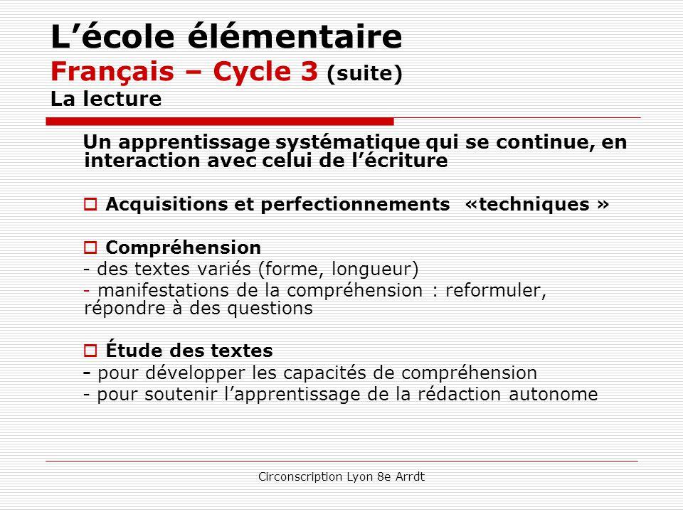 Circonscription Lyon 8e Arrdt L'école élémentaire Français – Cycle 3 (suite) Le langage oral une attention permanente à sa qualité En réception / comp