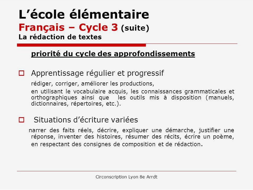 Circonscription Lyon 8e Arrdt L'école élémentaire Français – Cycle 3 (suite) La littérature  Contribution à la culture humaniste  Lecture intégrale