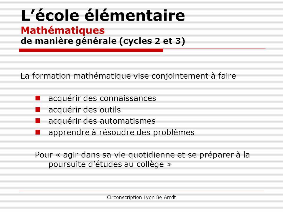 Circonscription Lyon 8e Arrdt L'école élémentaire Mathématiques de manière générale (cycles 2 et 3) la pratique des mathématiques développe  l'imagin