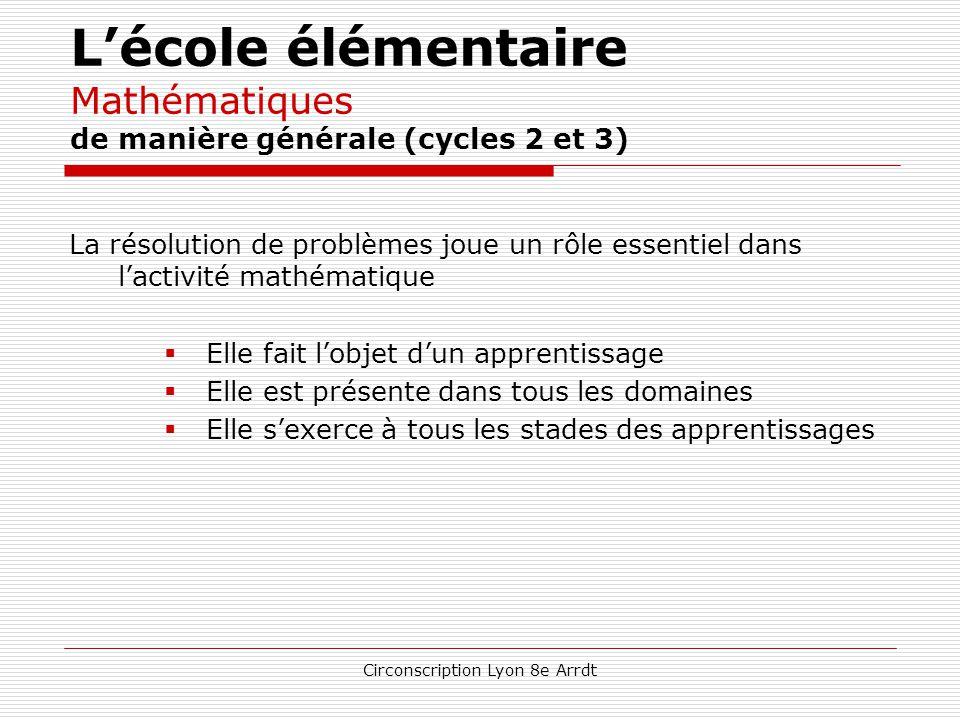 Circonscription Lyon 8e Arrdt L'école élémentaire Mathématiques de manière générale (cycles 2 et 3) Un programme découpé en quatre domaines  nombres