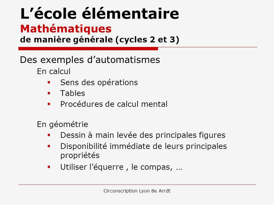 Circonscription Lyon 8e Arrdt L'école élémentaire Mathématiques de manière générale (cycles 2 et 3) Q u'entend-t-on par automatismes en mathématiques