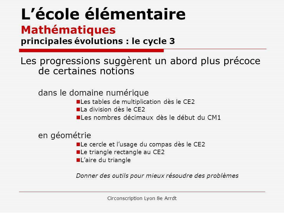 Circonscription Lyon 8e Arrdt L'école élémentaire Mathématiques principales évolutions : le cycle 2 Certains apprentissages sont avancés dans le domai
