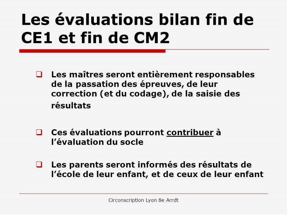 Circonscription Lyon 8e Arrdt Les évaluations bilan fin de CE1 et fin de CM2  annoncées dans la circulaire de rentrée qui en définit les modalités et