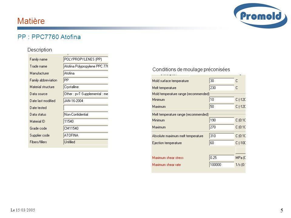 Le 15/03/2005 5 Matière Description Conditions de moulage préconisées PP : PPC7760 Atofina