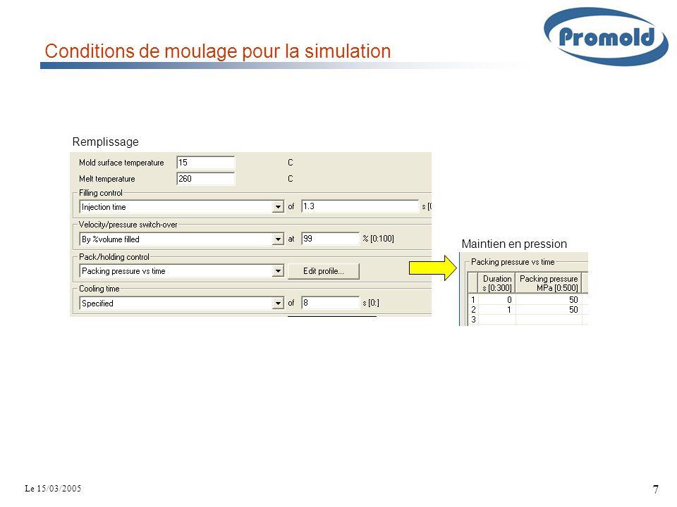 Le 15/03/2005 7 Remplissage Conditions de moulage pour la simulation Maintien en pression