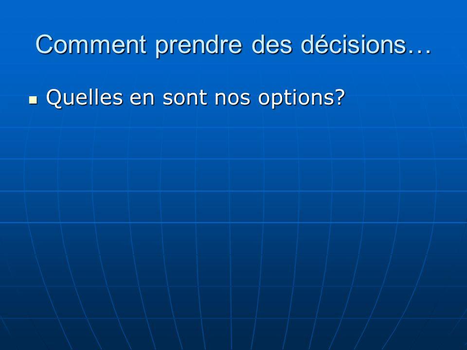 Comment prendre des décisions…  Quelles en sont nos options?